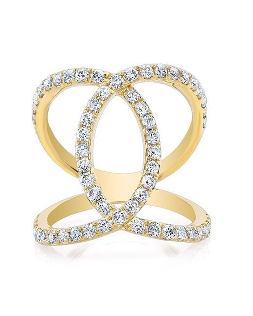 Anne Sisteron   Metallic 14kt Yellow Gold Diamond Luxe Cigar Band Ring   Lyst