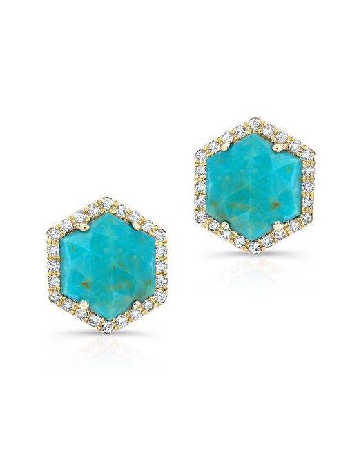 Anne Sisteron | Blue 14kt White Gold Turquoise Diamond Hexagon Stud Earrings | Lyst