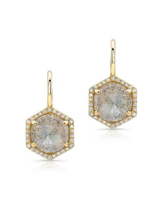 Anne Sisteron | Metallic 14kt Yellow Gold Labradorite Diamond Hexagon Dangle Earrings | Lyst