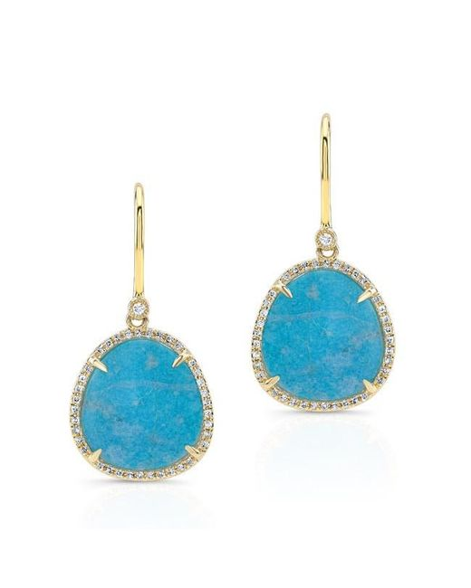 Anne Sisteron | 14kt Yellow Gold Blue Apatite Diamond Mini Organic Earrings | Lyst