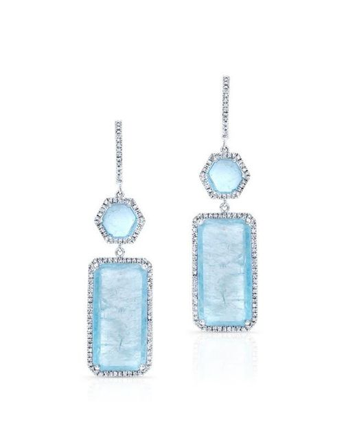 Anne Sisteron | Blue 14kt White Gold Aquamarine Diamond Geometric Earrings | Lyst