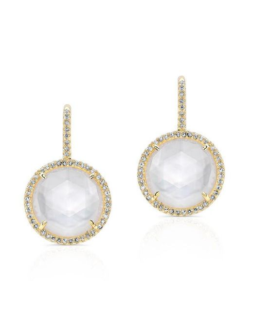 Anne Sisteron | Metallic 14kt Yellow Gold Mother Of Pearl Diamond Lune Earrings | Lyst