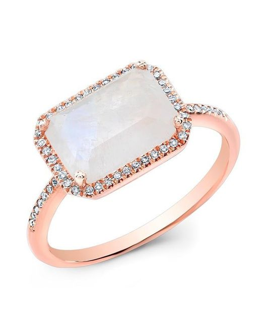 Anne Sisteron | Metallic 14kt Rose Gold Moonstone Diamond Chic Ring | Lyst
