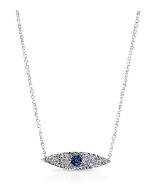 Anne Sisteron | Metallic 14kt White Gold Diamond And Sapphire Evil Eye Necklace | Lyst