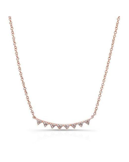 Anne Sisteron   Multicolor 14kt Rose Gold Diamond Triangle Crescent Necklace   Lyst