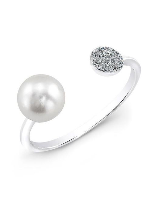 Anne Sisteron | Metallic 14kt White Gold Christina Pearl Diamond Disc Ring | Lyst