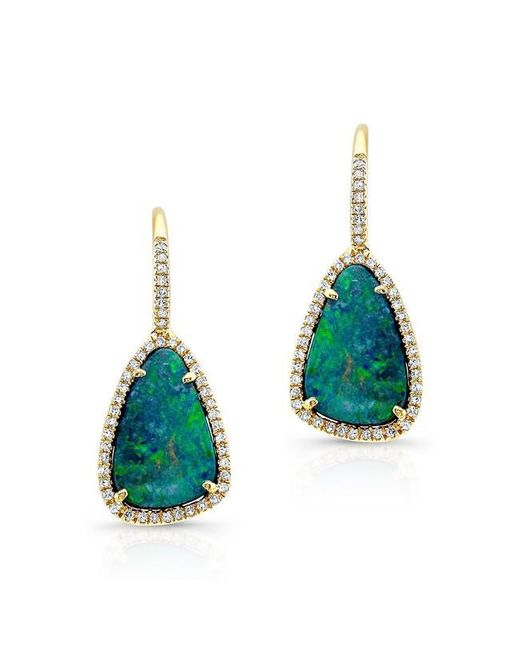 Anne Sisteron | 14kt Yellow Gold Organic Opal Diamond Earrings | Lyst