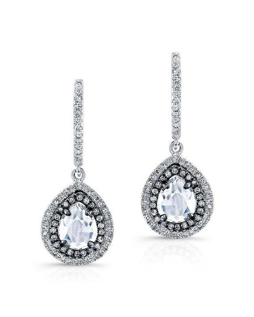 Anne Sisteron | Metallic 14kt White Gold And Oxidize Gold White Topaz Diamond Double Halo Earrings | Lyst