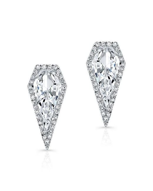 Anne Sisteron | Metallic 14kt White Gold White Topaz Diamond Shield Earrings | Lyst