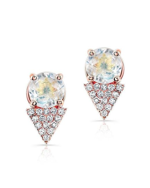 Anne Sisteron | Metallic 14kt Yellow Gold Moonstone Diamond Maddie Stud Earrings | Lyst