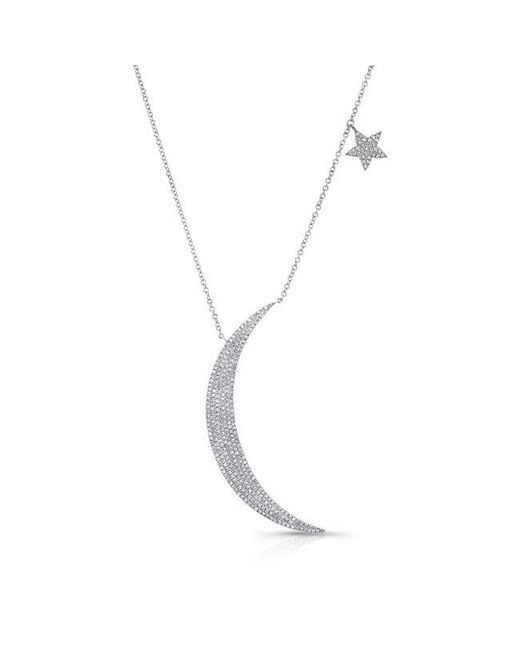 Anne Sisteron | Metallic 14kt White Gold Diamond Moon And Star Necklace | Lyst