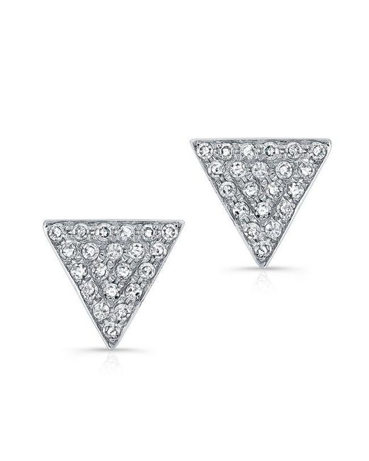 Anne Sisteron | Metallic 14kt White Gold Diamond Medium Triangle Emma Stud Earrings | Lyst