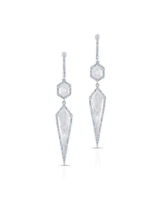 Anne Sisteron | Metallic 14kt White Gold White Topaz Diamond Earrings | Lyst