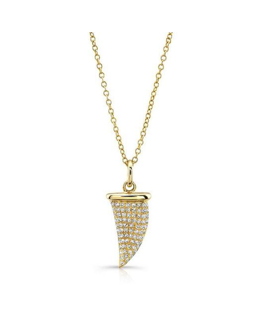 Anne Sisteron | Metallic 14kt Yellow Gold Diamond Shark Tooth Necklace | Lyst