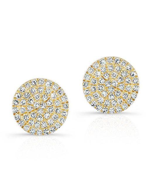 Anne Sisteron | Metallic 14kt Yellow Gold Diamond Medium Disc Stud Earrings | Lyst