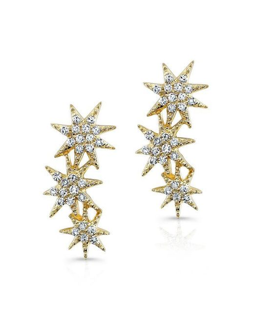 Anne Sisteron | Metallic 14kt Yellow Gold Diamond Triple Starburst Earrings | Lyst
