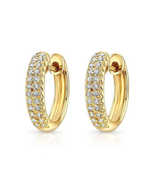 Anne Sisteron | Metallic 14kt Yellow Gold Diamond Huggie Earrings | Lyst