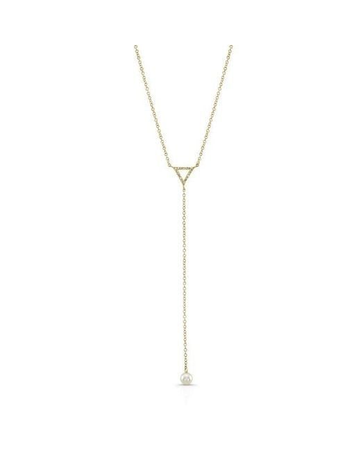 Anne Sisteron | Metallic 14kt Yellow Gold Diamond And Pearl Lariat Necklace | Lyst