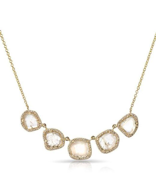 Anne Sisteron | Metallic 14kt Yellow Gold 5 Diamond Slice Princess Necklace | Lyst