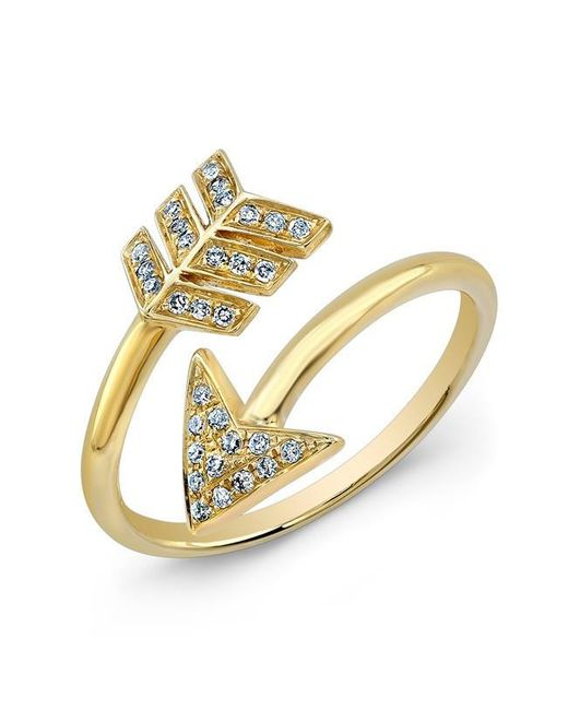 Anne Sisteron | Metallic 14kt Yellow Gold Diamond Wrap Around Arrow Ring | Lyst