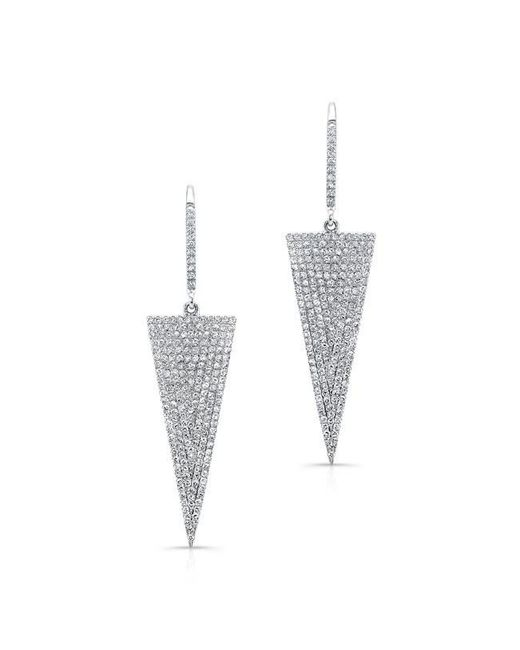 Anne Sisteron | Metallic 14kt White Gold Diamond Triangle Drop Earrings | Lyst