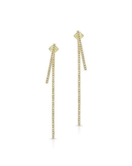Anne Sisteron | Metallic 14kt Yellow Gold Diamond Double Bar Earrings | Lyst
