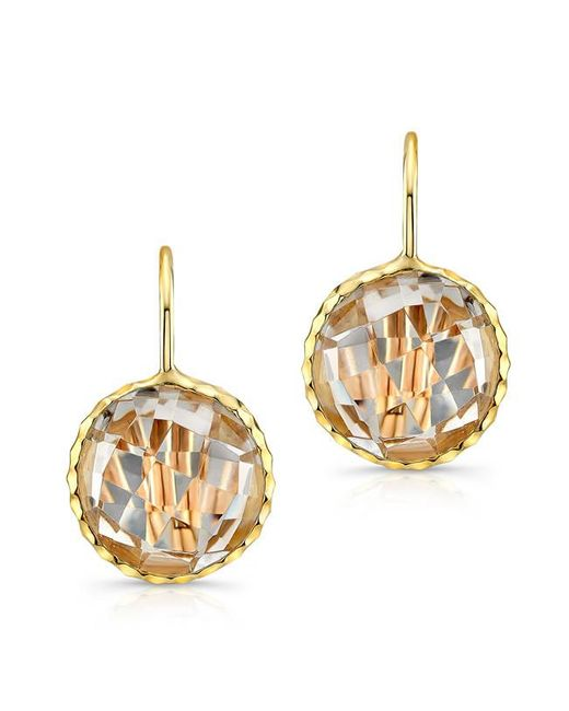 Anne Sisteron | Metallic 14kt Yellow Gold White Topaz Round Earrings | Lyst