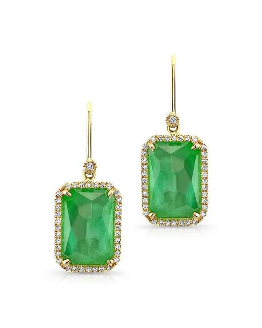 Anne Sisteron | 14kt Yellow Gold Mint Green Tourmaline Diamond Earrings | Lyst