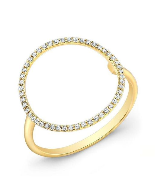 Anne Sisteron | Metallic 14kt Yellow Gold Diamond Open Circle Diamond Ring | Lyst