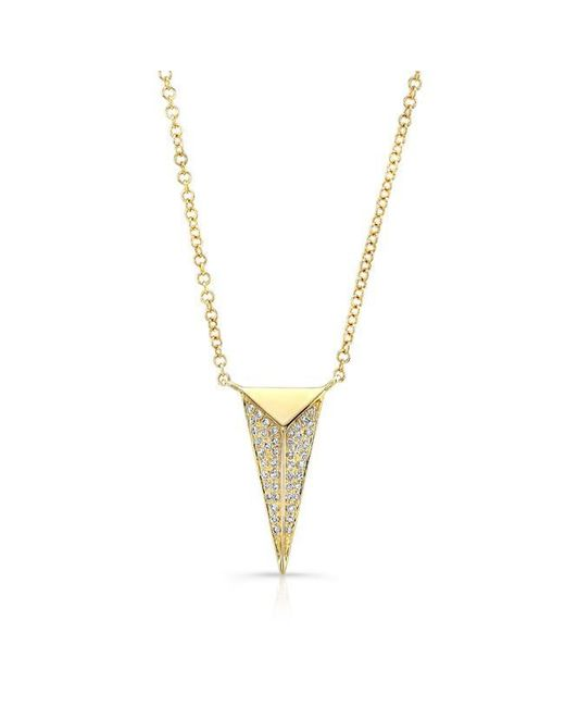 Anne Sisteron | Metallic 14kt Yellow Gold Diamond Long Triangle Necklace | Lyst