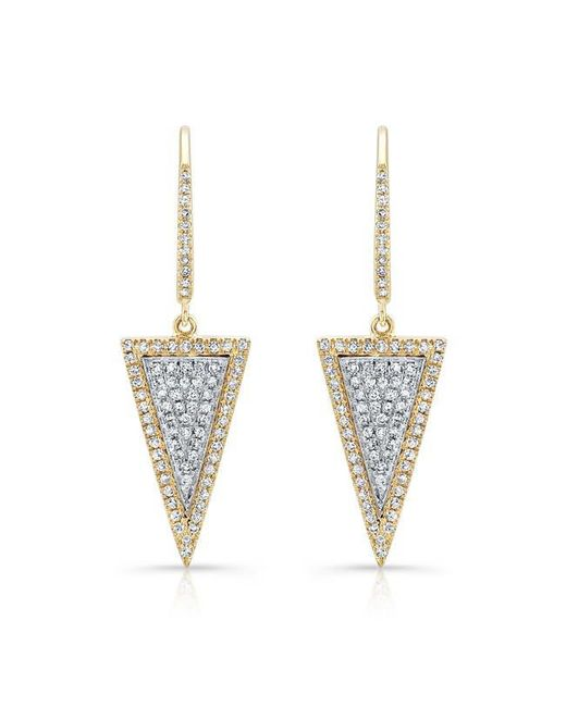 Anne Sisteron | Metallic 14kt Yellow And White Gold Diamond Triangle Earrings | Lyst
