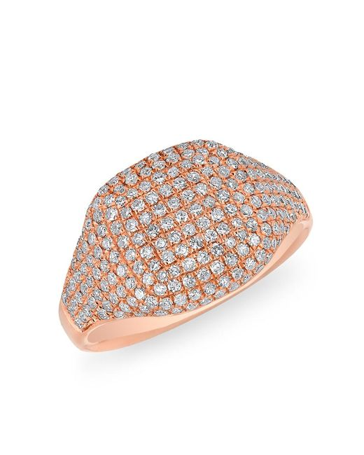 Anne Sisteron   Multicolor 14kt Rose Gold Diamond Cushion Pinkie Ring   Lyst