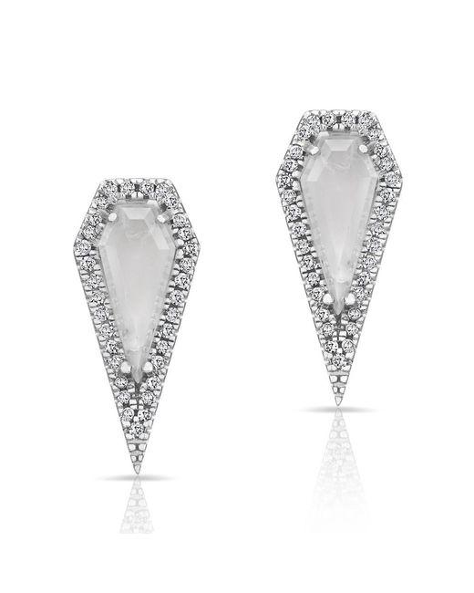 Anne Sisteron | Metallic 14kt White Gold Moonstone Diamond Shield Earrings | Lyst
