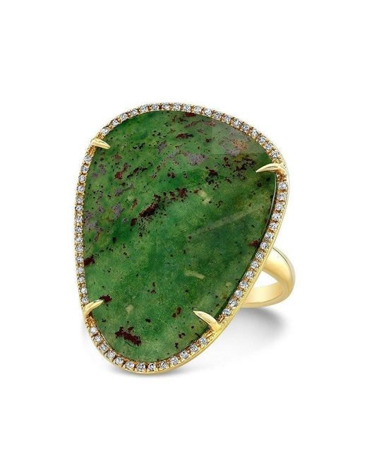 Anne Sisteron | Green 14kt Yellow Gold Blood Stone Diamond Organic Shape Cocktail Ring | Lyst