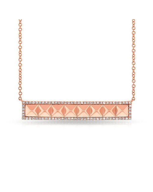 Anne Sisteron - Metallic 14kt Rose Gold Diamond Pyramid Bar Necklace - Lyst