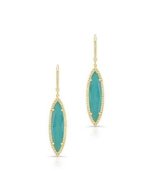 Anne Sisteron - Blue 14kt Yellow Gold Diamond Turquoise Turquesa Marquis Earrings - Lyst