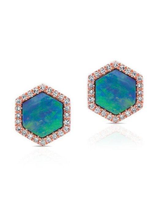 Anne Sisteron | Multicolor 14kt Rose Gold Opal Diamond Hexagon Stud Earrings | Lyst