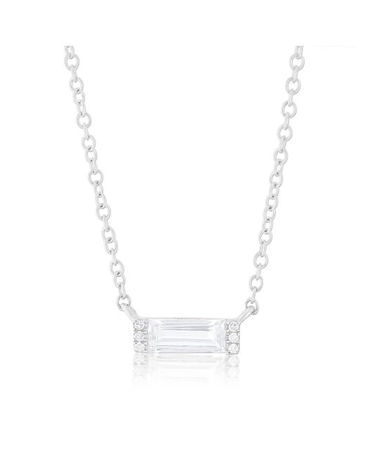 Anne Sisteron - 14kt White Gold Diamond White Topaz Brick Necklace - Lyst