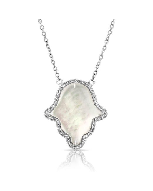 Anne Sisteron | Metallic 14kt White Gold Mother Of Pearl Hamsa Pendant Necklace | Lyst
