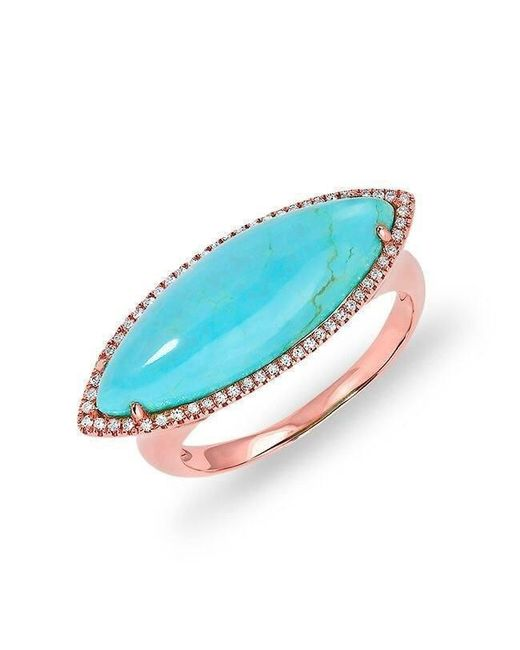 Anne Sisteron - Blue 14kt Rose Gold Diamond Turquoise Marquis Ring - Lyst