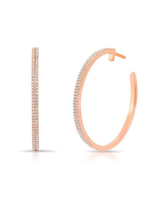 "Anne Sisteron - Metallic 14kt Rose Gold Diamond 1 1/4"" Hoop Earrings - Lyst"