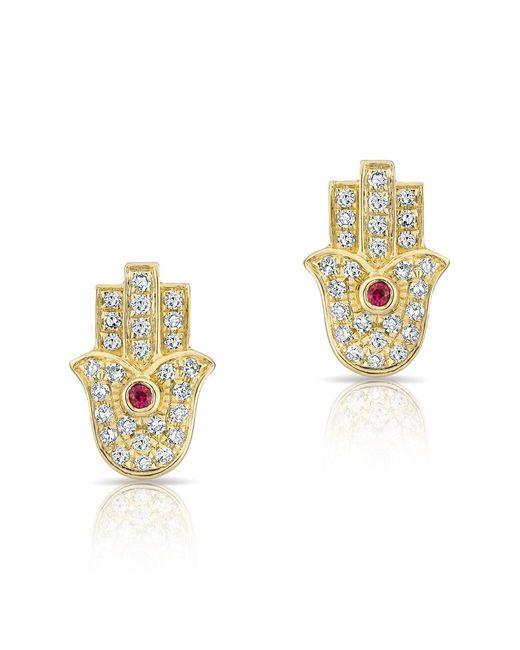 Anne Sisteron | Metallic 14kt Yellow Gold Ruby Diamond Hamsa Stud Earrings | Lyst