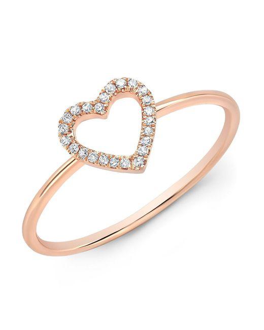 Anne Sisteron - Metallic 14kt Rose Gold Diamond Open Heart Ring - Lyst