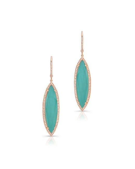 Anne Sisteron | Blue 14kt Rose Gold Diamond Turquoise Turquesa Marquis Earrings | Lyst
