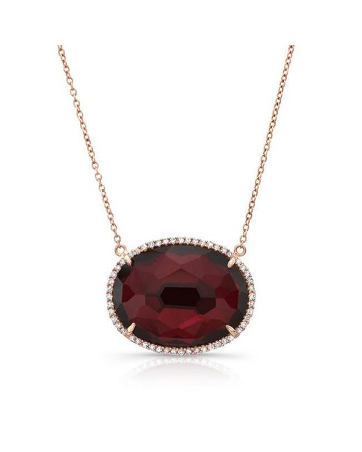 Anne Sisteron | Multicolor 14kt Rose Gold Bright Ruby Diamond Oval Necklace | Lyst