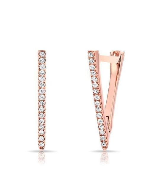 Anne Sisteron - Multicolor 14kt Rose Gold Diamond Triangle Bar Huggie Earrings - Lyst