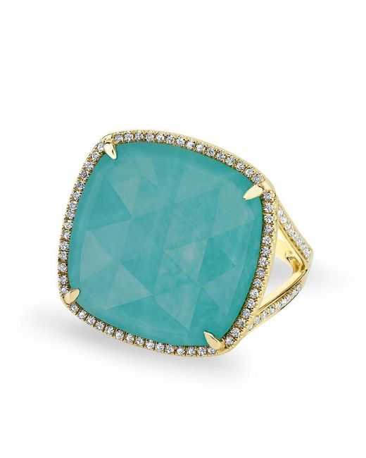 Anne Sisteron Blue 14kt Yellow Gold Diamond Turquoise Laguna Triplet Cushion Cut Cocktail Ring
