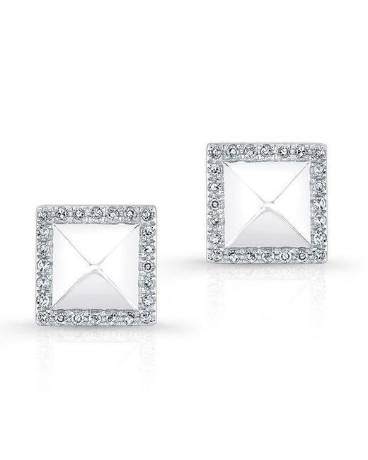 Anne Sisteron - Metallic 14kt White Gold Diamond Edged Pyramid Stud Earrings - Lyst