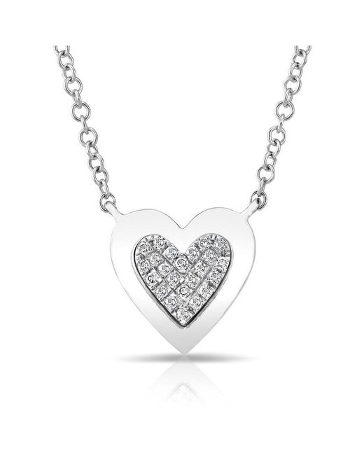 Anne Sisteron | Metallic 14kt White Gold Diamond Core Heart Necklace | Lyst