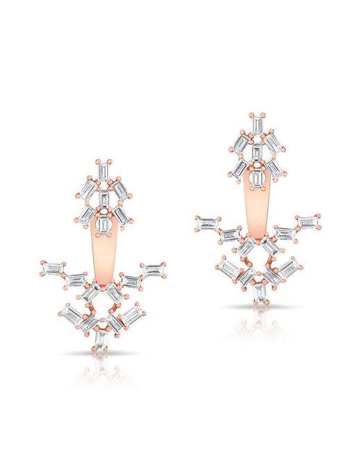 Anne Sisteron - Metallic 14kt Rose Gold Baguette Diamond Anastasia Floating Earrings - Lyst